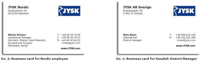 Order Business Cards Jysk Blue Line